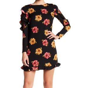 Nicole Miller Ruffled Sleeve Floral Dress